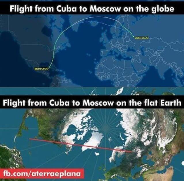 Flight From Havana to Moscow, Globe vs Flat Earth Route