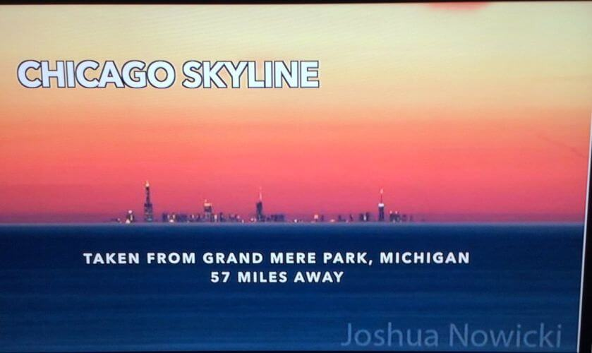 Chicago skyline 57 miles over flat water, media calls mirage, FEMemes