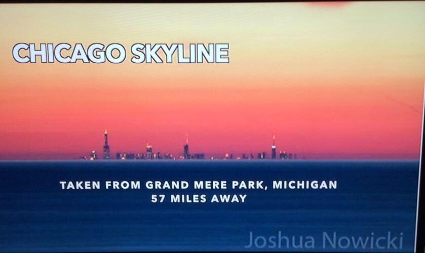 Chicago skyline 57 miles over flat water, media calls mirage, FEMemes